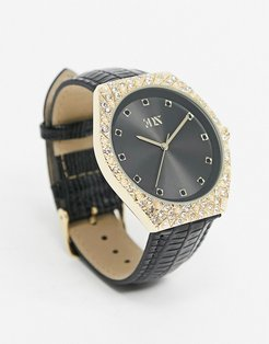 watch in black with crystal and pearl details