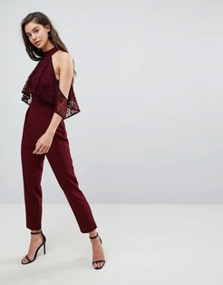ASOS High Neck Lace Top Jumpsuit with Contrast Binding-Red