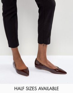 ASOS LATCH Pointed Ballet Flats-Brown