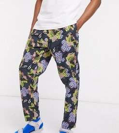 KENYA tapered floral print pants two-piece-Gray