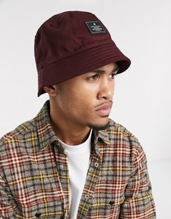 bucket hat in burgundy with branded patch-Red