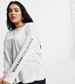 Curve oversized long sleeve T-shirt with back logo in ice heather-White