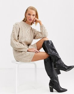 bobble cable knitted dress