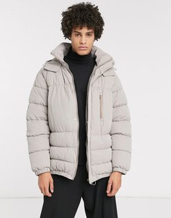 boxy puffer jacket in gray with concealed hood