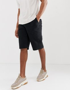 cargo shorts in black heavyweight twill