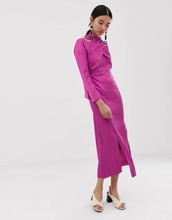 midi dress with cross over detail-Multi