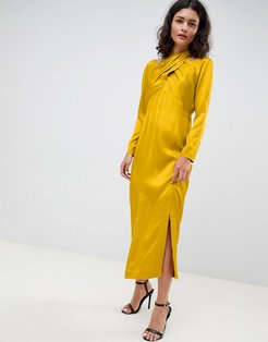 midi dress with cross over detail-Green