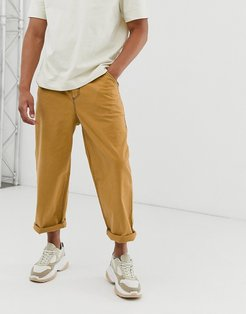 relaxed pants in mustard with contrast stitching-Yellow