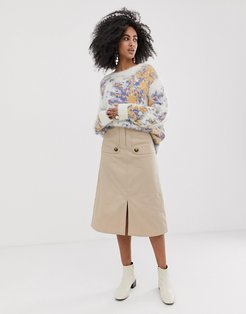 twill midi skirt with front storm flaps-Beige