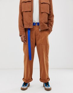 two-piece wide leg pants in rich tan heavyweight twill-Brown