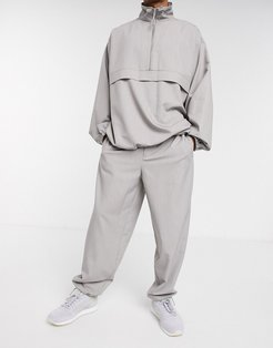 two-piece woven tracksuit jogger in gray