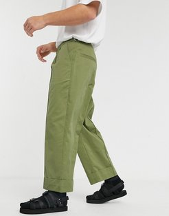 wide leg pants with front crease in green