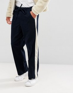 ASOS Wide Pants In Navy Cord With Side Stripe