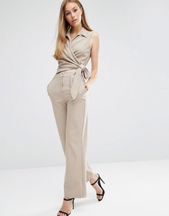 ASOS Wrap Front Jumpsuit with Tie-Neutral