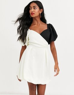 lost to the night puff sleeve contrast mini dress-Cream