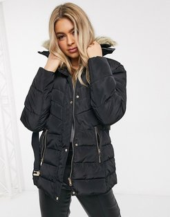 belted puffer coat with faux fur collar in black