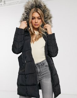 belted puffer longline coat with faux fur hood-Black