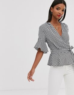 cross over ruffle sleeve belted crop blouse-Multi