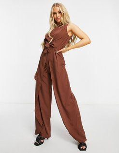 high neck jumpsuit in chocolate-Brown