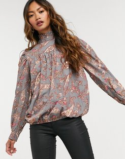 high neck smock blouse in paisley-Multi