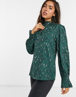 high neck top in green abstract spot
