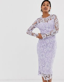 lilac corded lace midi dress with sheer top-Purple