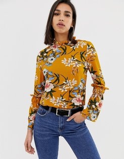 long sleeve floral blouse-Yellow