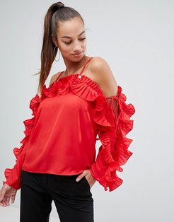 red frill blouse