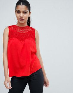 top with lace detail-Red