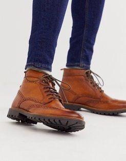 Bower brogue boots in tan-Brown