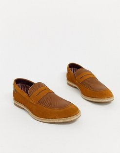 combie embossed loafers in tan suede-Brown