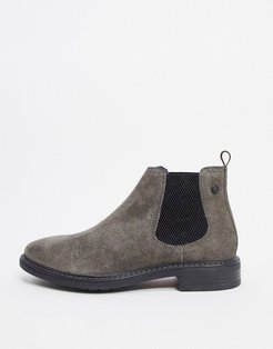 seymour chelsea boots in charcoal suede-Gray