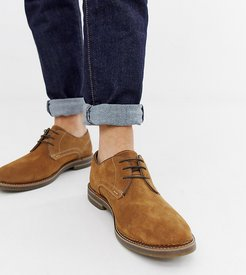 Wide Fit Blake derby shoes in tan suede