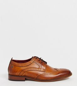 Wide Fit Motif brogues in tan leather