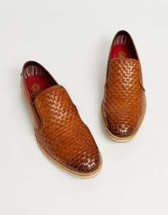 woven loafers in tan leather