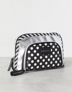 cosmetic bag with double pouch-Silver