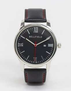 leather strap watch with black dial in silver tone