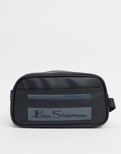 stripe toiletry bag in black and gray