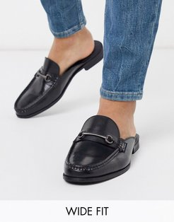 wide fit leather backless loafer in black