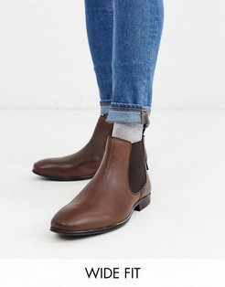 wide fit leather chelsea boot in brown