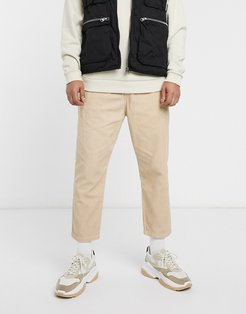 carrot fit cord pants in sand-Beige