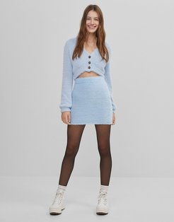 coordinating cuddly mini skirt in light blue