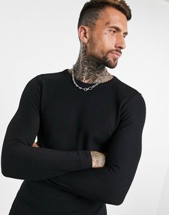 crew neck ottoman sweater with fine knit in black