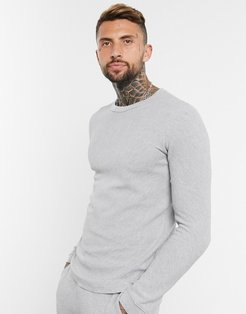 crew neck ottoman sweater with fine knit in gray
