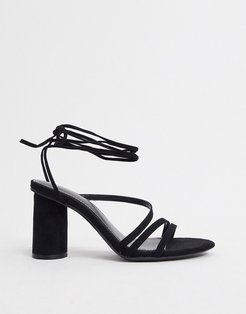 heel with ankle tie in black
