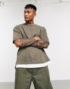 Join Life t-shirt with double layer in khaki-Green