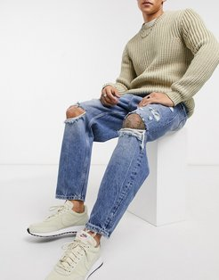 loose fit jeans with rips in mid blue wash-Blues