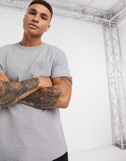 loose fit waffle t-shirt with pocket in gray
