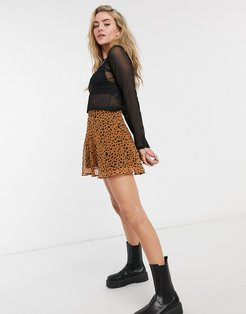 mini animal print skater skirt in brown