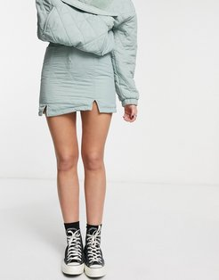 mini skirt with quilting in sage green